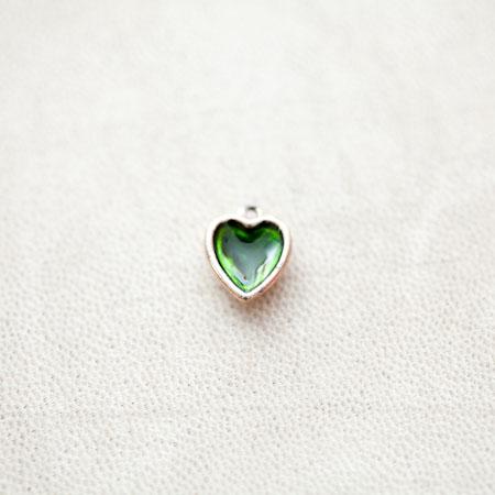 Pendentif Coeur 13mm Doré Émaillé Vert Transparent x 1pc