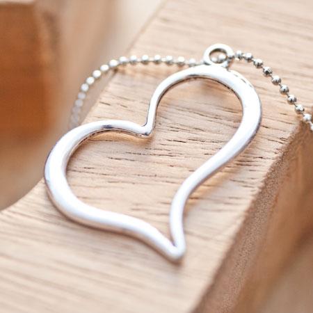 Pendentif Coeur fil penché Argent vieilli x 4