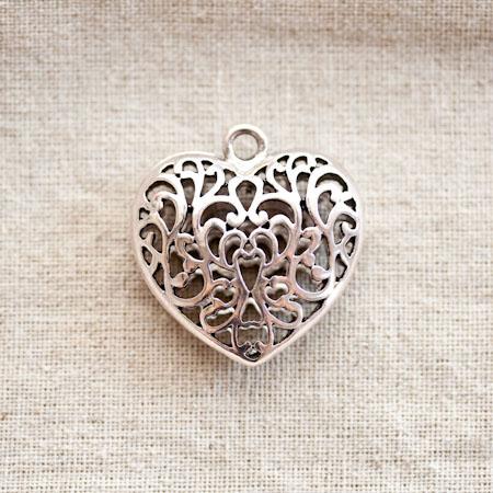 Pendentif Coeur filigrane 3,5cm Argent vieilli x 1