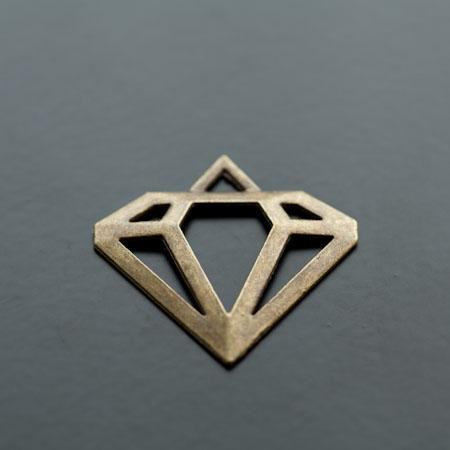 Pendentif Connecteur Diamant Bronze vieilli x 5