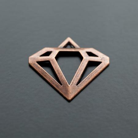 Pendentif Connecteur Diamant Cuivre Rouge x 5