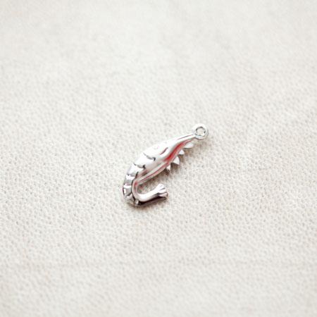 Pendentif Crevette 20mm Argenté gris x 4pcs