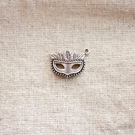 Pendentif Masque Vénitien Argent vieilli x 2