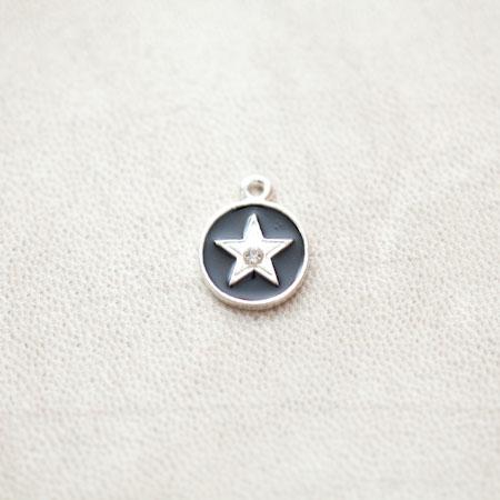 Pendentif Médaillon Étoile 16x13mm Argenté Émaillé Noir x 2pcs