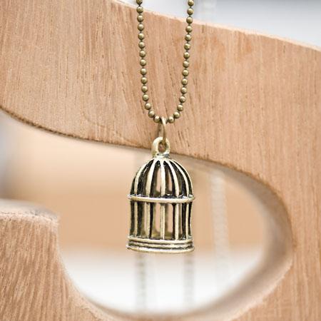 Breloque Cage à oiseaux relief Bronze vieilli
