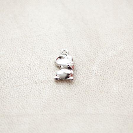 Pendentif Souris 15mm Argenté gris x 4pcs