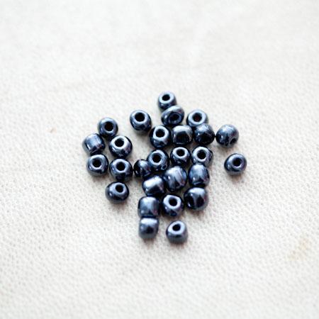 Perle de Rocaille 4mm Noir miroir x 78pcs