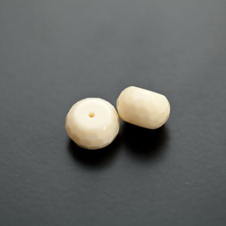 Perle de Turquoise Synthétique Boulier 12mm Facettes Jaune Paille Clair x 3pcs