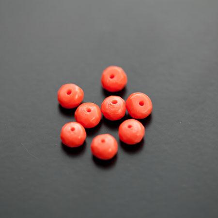 Perle de Turquoise Synthétique Boulier 6mm Facettes Rouge Orange x 8pcs