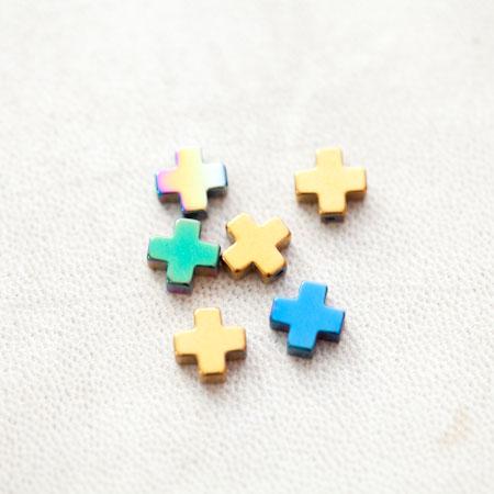 Perle en Hématite 8mm Croix Plus Couleur Mixte x 6pcs