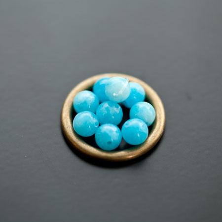 Perle en Jade 6mm Bleu x 10