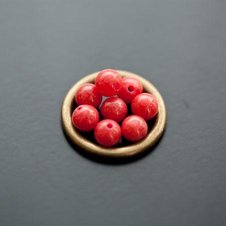 Perle en Jade 6mm Cerise x 12
