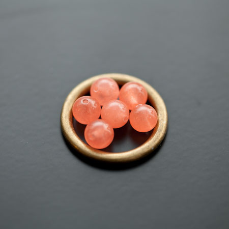Perle en Jade 6mm Saumon x 10