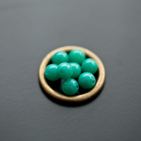 Perle en Jade 6mm Vert Océan x 12