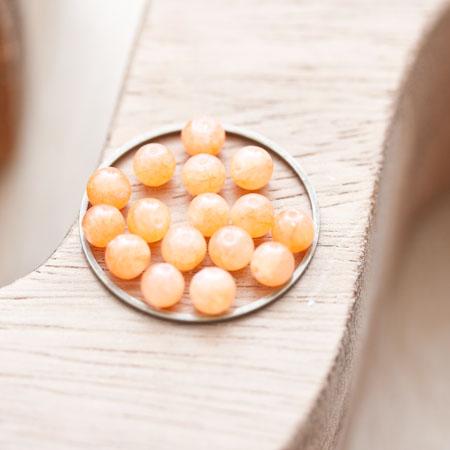 Perle de Jade Rond 4mm Rouge Tomate x 18pcs
