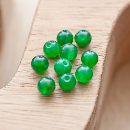 Perle en Jade 6mm Vert x 10