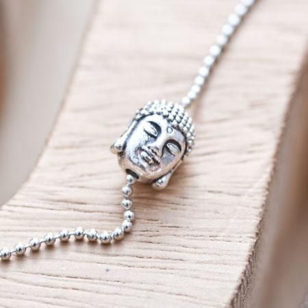 Perle en métal 11mm Tête de Buddha Argent vieilli x 4