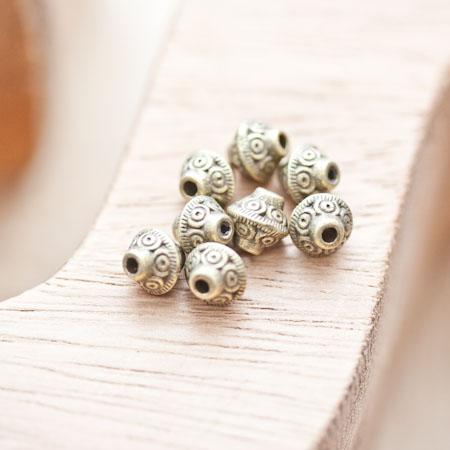 Perle en métal Bicône 7x6.5mm à motifs Bronze vieilli x 10