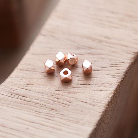 Perle en Métal Boulon 4mm Doré Rose x 20