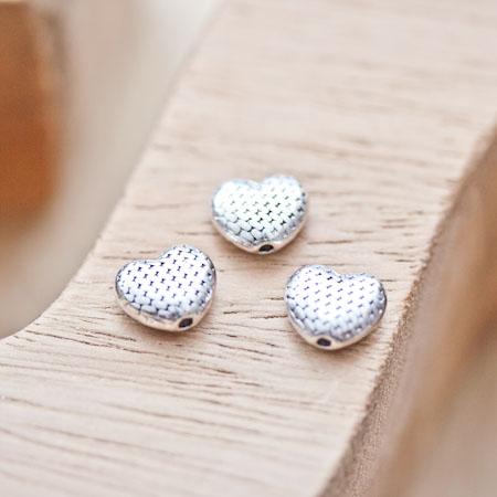 Perle en métal Coeur 8.5x10mm Quadrillée Argent vieilli x 8