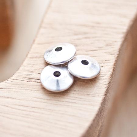 Perle en métal Disque 11mm Toupie Argent vieilli x 5