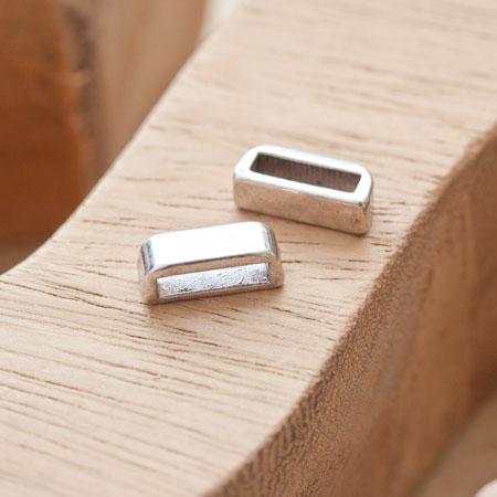 Perle en métal Rectangle 13.5x5mm Coulissant Argent vieilli x 6