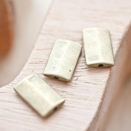 Perle en métal Rectangle 17x10.5mm Plate Bronze vieilli x 4