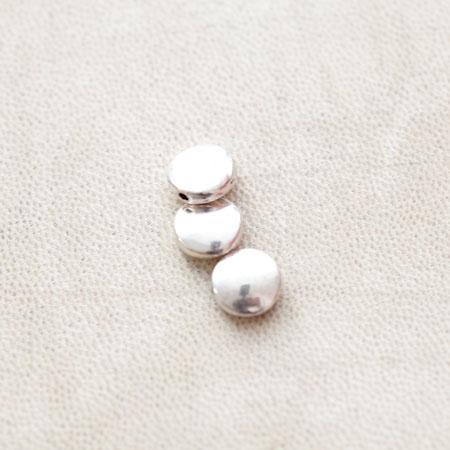 Perle en métal Ronde 9mm Plate Argent vieilli x 8