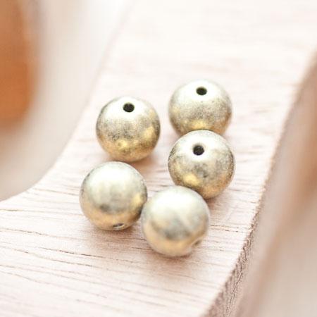 Perle en métal Ronde 10mm Bronze vieilli x 5