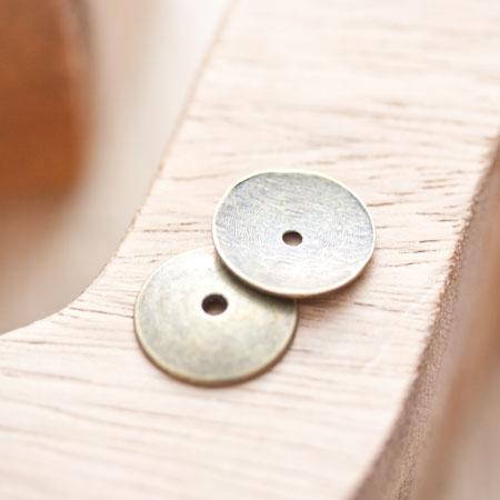 Perle en métal Ronde 15mm Plate Bronze vieilli x 6