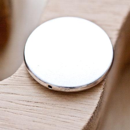 Perle en métal Ronde 32mm Plate Argent vieilli x 1