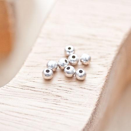 Perle en métal Ronde 4mm Argent vieilli x 50