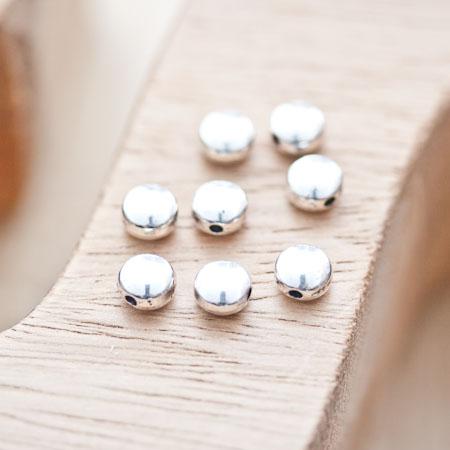 Perle en métal Ronde 6mm Plate Argent vieilli x 20