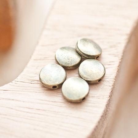 Perle en métal Ronde 9mm Plate Bronze vieilli x 8