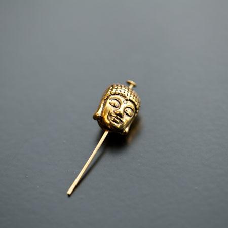 Perle en métal Tête de Bouddha 11x9mm Doré x 4pcs