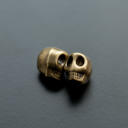 Perle en métal Tête de mort - Skull 13mm Bronze vieilli x 3
