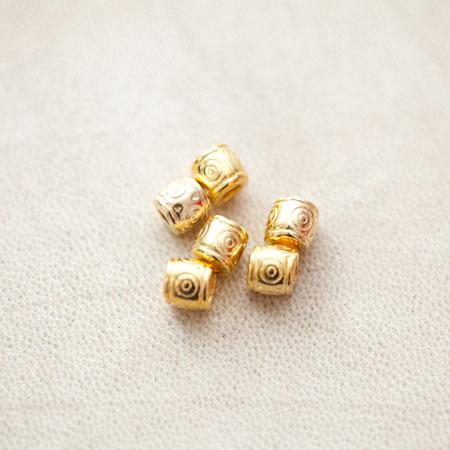 Perle en métal Tube 6.5x6mm Motifs Doré x 14pcs