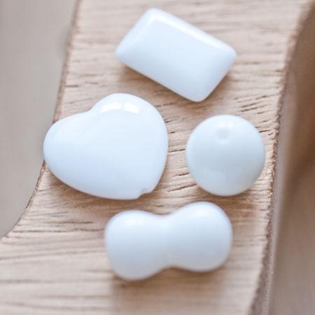 Perle en porcelaine 22-29mm Mixte Blanc x 8