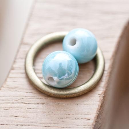 Perle en porcelaine Ronde 10mm Bleu eau x 12