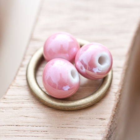 Perle en porcelaine Ronde 10mm Saumon pastel x 12