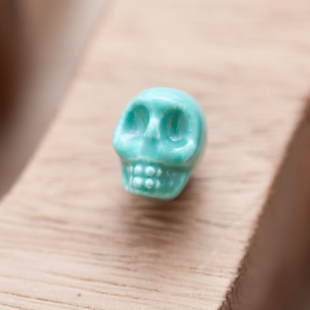Perle en Porcelaine Tête de mort - Skull 13mm Bleu Turquoise x 3