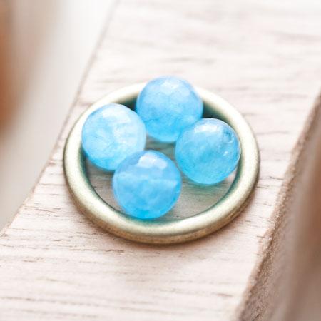 Perle en Quartz Ronde 8mm Facettes Bleu x 14
