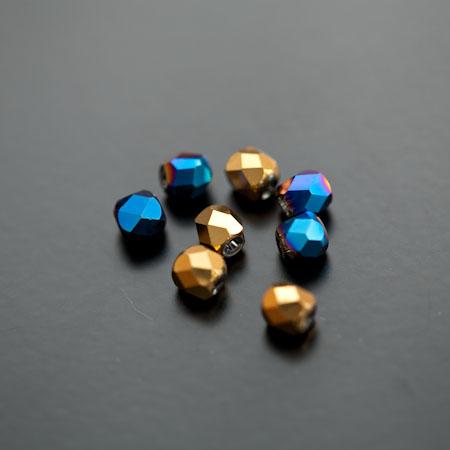 Perle en verre 6mm Opaque Miroir Couleur Mixte x 8pcs
