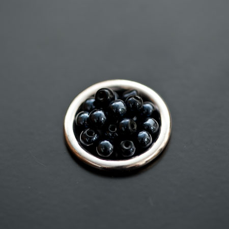 Perle en verre Boulier 6mm Noir miroir x 30