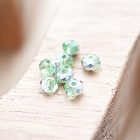 Perle en verre Boulier 6mm Vert clair argenté x 20
