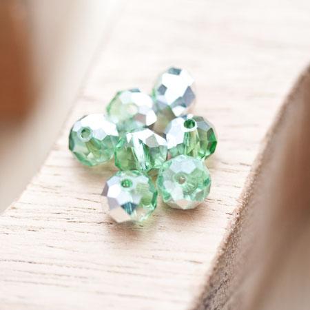 Perle en verre Boulier 8mm Vert clair argenté x 14