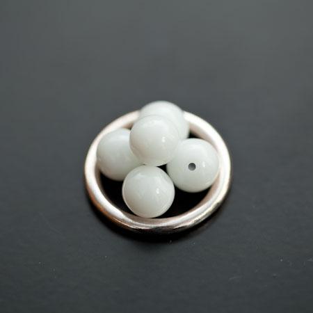Perle en verre Rond 8mm Blanc x 20pcs