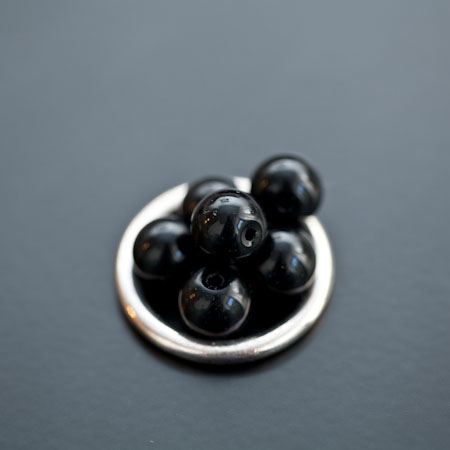 Perle en verre Rond 8mm Noir x 20pcs