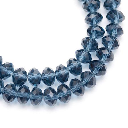 Perle verre Bleu acier 8mm x 50