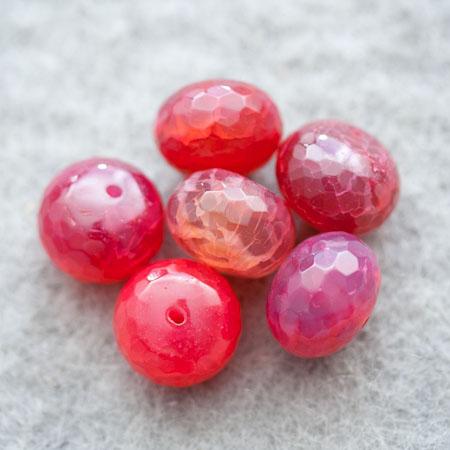 Perle gemme Agate Boulier à facettes 16mm Prune x 1
